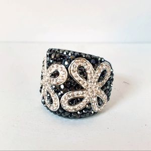 Swarovski Crystal Hematite Flower Ring